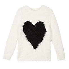 bluezoo - Girl's cream fluffy heart jumper