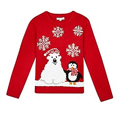 bluezoo - Children's red Christmas jumper