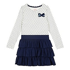 bluezoo - Girl's navy spotted layered bow dress