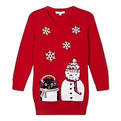 bluezoo - Girls' red sequinned Christmas jumper
