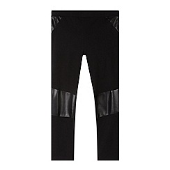 bluezoo - Girl's black PU trim leggings