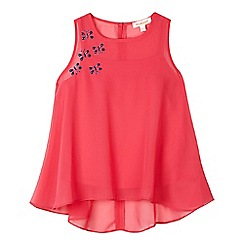 bluezoo - Girl's bright pink layered chiffon top