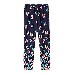 bluezoo - Girl's navy butterfly print trousers