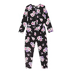 bluezoo - Girl's black polka dot flower print jumpsuit