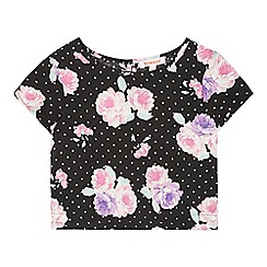 bluezoo - Girl's black flower polka dot print shell top