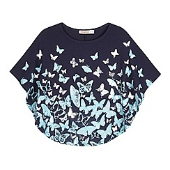 bluezoo - Girl's navy butterfly cape top