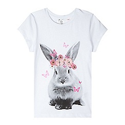 bluezoo - Girl's white bunny print t-shirt