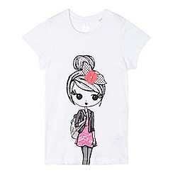 bluezoo - Girl's white front and back girl print t-shirt