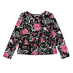 bluezoo - Girl's black accessories print frilled top