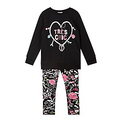 bluezoo - Girl's black charm print sweater and leggings set