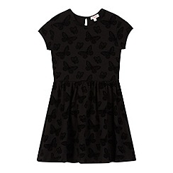 bluezoo - Girl's black flocked butterfly dress