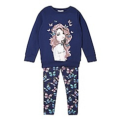 bluezoo - Girl's navy butterfly girl sweatshirt and leggings set