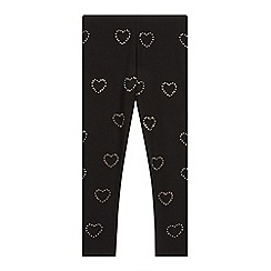 bluezoo - Girl's black diamante heart leggings