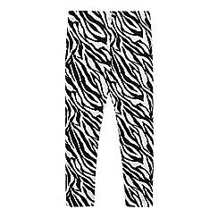 bluezoo - Girl's black zebra print leggings