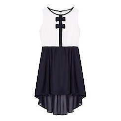 bluezoo - Girl's navy bow dipped hem dress