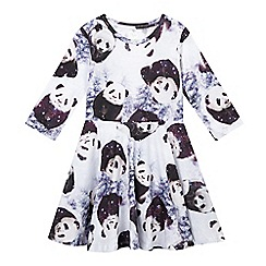 bluezoo - Girl's white digital panda print jersey dress