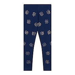bluezoo - Girl's navy diamante floral leggings