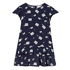 bluezoo - Girl's navy stereo print tea dress