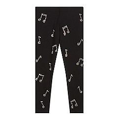 bluezoo - Girl's black diamante music note leggings