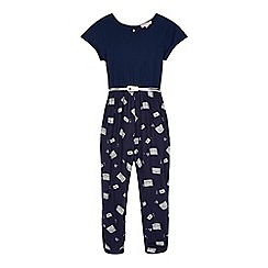 bluezoo - Girl's navy cassette print belted jumpsuit