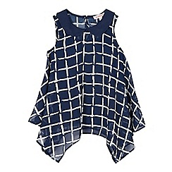 bluezoo - Girl's navy sleeveless checked blouse and vest top set