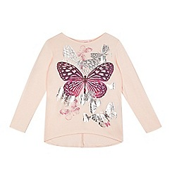 bluezoo - Girl's pink butterfly print jersey top