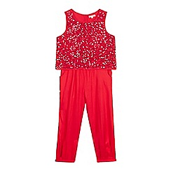 bluezoo - Girls' red sequin bodice jumpsuit