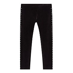 bluezoo - Girl's black studded velour leggings