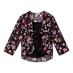 bluezoo - Girl's black vest top and floral kimono set