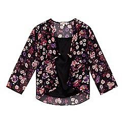 bluezoo - Girl's black vest top and floral kimono set