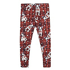 bluezoo - Girls' red dog print tartan leggings
