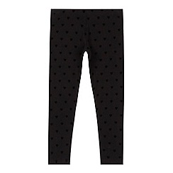bluezoo - Girls' black textured heart leggings