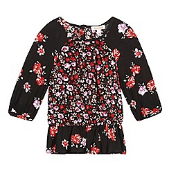 bluezoo - Girls' black floral print blouse