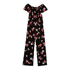 bluezoo - Girls' black floral jumpsuit