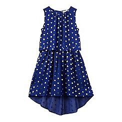 bluezoo - Girls' blue heart print high low dress