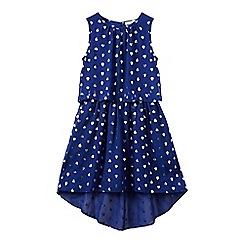 bluezoo - Girls' blue heart print high low dress