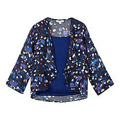 bluezoo - Girls' navy vest top and lights print kimono set
