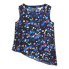 bluezoo - Girls' navy asymmetric lights print top