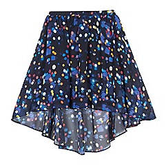 bluezoo - Girls' navy lights print waterfall hem skirt