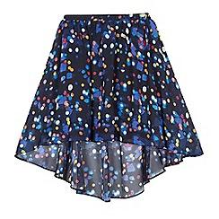 bluezoo - Girls' navy lights print waterfall hem skirt