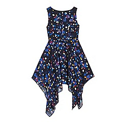 bluezoo - Girls' navy lights print waterfall hem dress