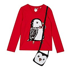 bluezoo - Girls' red penguin top and bag set