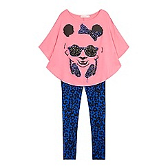 bluezoo - Girls' blue panda cape top and leggings set