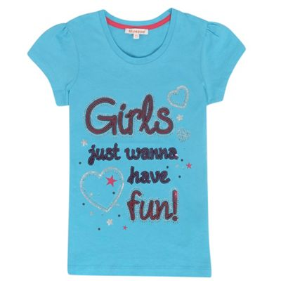 Girls Aqua Sequinned T-shirt
