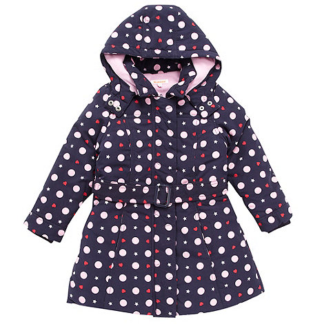bluezoo - Girl+s navy and pink spotted padded coat