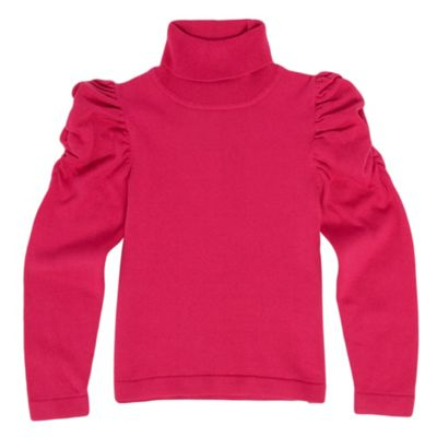 Girls Dark Pink Roll Neck Jumper