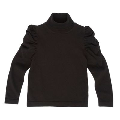 Girls Black Roll Neck Jumper