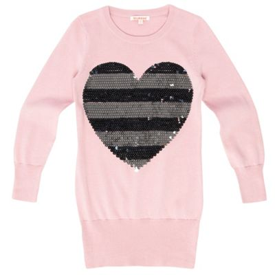Girls Pale Pink Heart Jumper