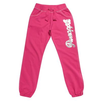 Girls Pink Sequinned Logo Jogging Bottoms