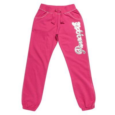 Girls Pink Sequinned Logo Jogging Bottoms